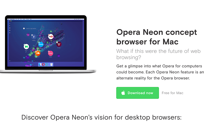 opera neon desktop browser